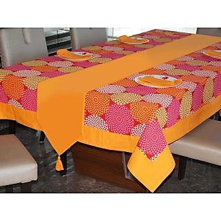 Lushomes Spiral Printed 6 Seater Small Table Linen Set