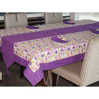 Lushomes Purple Rain Printed 6 Seater Small Table Linen Set