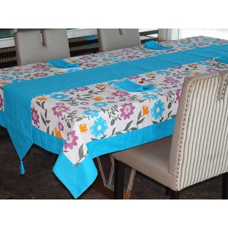 Lushomes Flower Printed 6 Seater Small Table Linen Set
