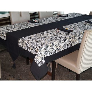 Lushomes Coins Printed 6 Seater Small Table Linen Set