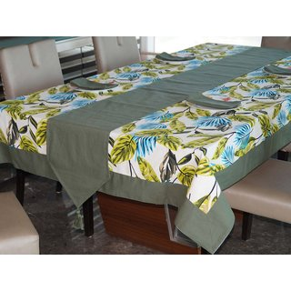 Lushomes Forest Printed 6 Seater Small Table Linen Set