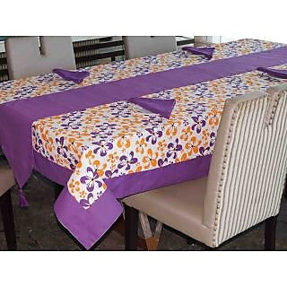 Lushomes Shadow Printed 6 Seater Small Table Linen Set