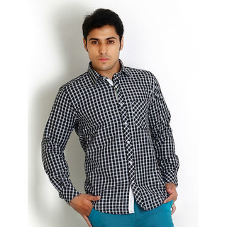 Solemio Black Trendy Slim Fit Check Shirt
