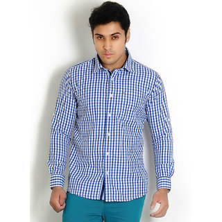 Solemio Blue Trendy Slim Fit Check Shirt