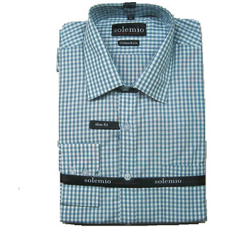 Solemio White Light Green Check Casual Shirt