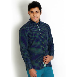 Solemio Stylish Green Trendy Slim Fit Check Shirt