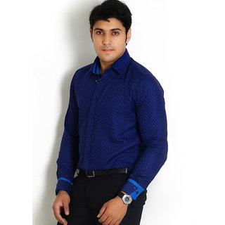 Solemio Navy Partywear Slim Fit Dotted Cotton Shirt