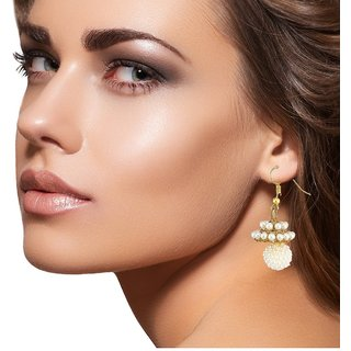 9blings Antique Design Paerl Gold Plated Zinc Alloy Earring