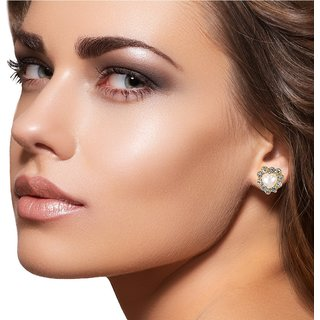 9blings Antique Design Pearl Cubic Zirconia Gold Plated Zinc Alloy Stud Earring