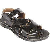 Major's Open Toe Rexine Strappy Floater Sandals For Men - Black Colour