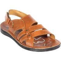 Major's Open Toe Brown Colour Rexine  Strappy Floater Sandals For Men
