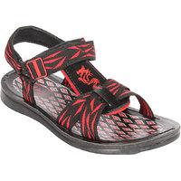 Major's Open Toe Black  Red Colour Rexine  Strappy Floater Sandals For Men