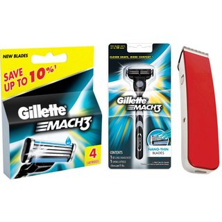 Gillette Mach3 - Razor + Gillette MAch3 4 Cartridges + Branded Trimmer