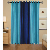 Sai Arpan Pack Of 3 Polyester 2 Aqua + Navy Blue Plain Door Curtain