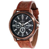 Xemex Synthetic Leather Casual Black Round Dial Analog Watch For Men