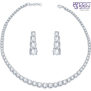 Sukkhi Rhodium Plated Cz Single String Solitaires Necklace Set