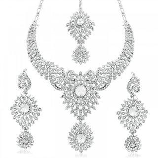 Vidhi Jewels Glistening Rhodium Plated Diamond Necklace Set - VNK123R