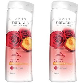Avon Red Rose  Peach Hand  Body Lotion (Set Of 2 Of 200 Ml Each) (400 Ml)
