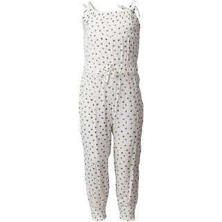 WESTERN BASICS White Printed Straps Cotton Girls Full Jumpsuit