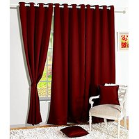Story@Home 1 Piece Premium Solid Fancy Blackout Elegant Ringtop Plain Multi Eyelet 5 Ft Window Curtains, 48 X 60, Wine