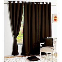 Story@Home 1 Piece Premium Solid Fancy Blackout Elegant Ringtop Plain Multi Eyelet 5 Ft Window Curtains, 48 X 60, Dark