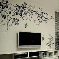 Classical Black Vines Butterfly Removable Decal Vinyl Mural Wall Sticker Office TV Background Decor