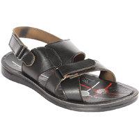 Major's Open Toe Black Colour Rexine  Strappy Floater Sandals For Men