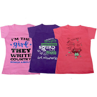 IndiWeaves Girl's Cotton T-Shirts Combo 3 (Pack of 3 T-Shirt)