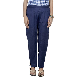 IndiWeaves Women's LINEN Blue Boot Cut Pant  With 2 POCKET