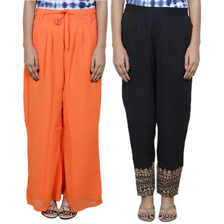 IndiWeaves Women's Georgette 1 Pallazo With 1 Boot Cut Pant Combo (Pack of 2)