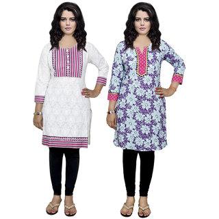 IndiWeaves Women's Pure Cotton Printed Kurti Combo 2 (Pack Of 2 Kurti)