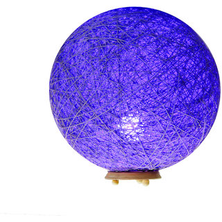 Eartho Ball Table Lamp Shades Yarn with Wooden Base (Blue and 85 cm)