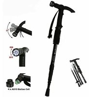 4-Step Adjustable Anti-Shock Telescopic Hiking Walking Stick with LED Flashlights (Batteries included) Color Assorted