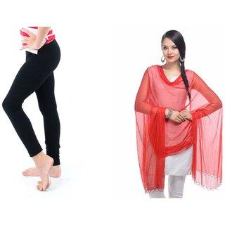 S Redish Legging Dupatta