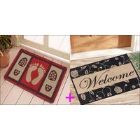 Saral Home Premium Quality Anti Slip Jute Door Mat (15X23 Inches)  2 PC SET
