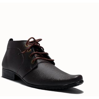 At Classic Brown Long Ankle Shoes