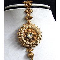Golden Drop Flower Maang Tikka