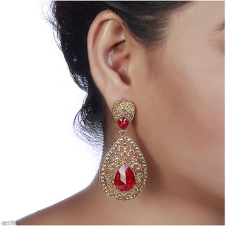 Prizeta Red Alloy Ethnic Women Drop Earring