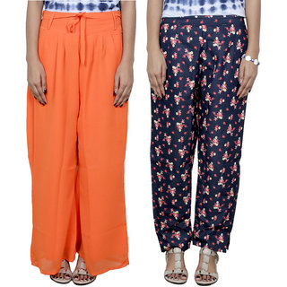 IndiWeaves Women's Georgette and Denim 1 Pallazo With 1 Boot Cut Pant Combo (Pack of 2)