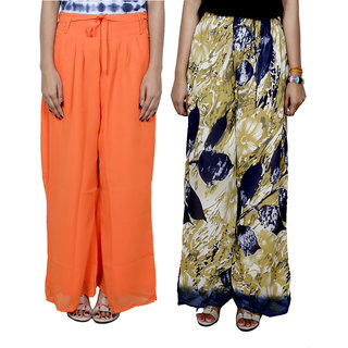 IndiWeaves Women's Georgette Pallazo Combo (Pack of 2)