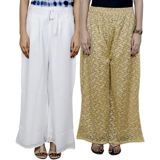 IndiWeaves Women's Georgette and Kora Silk Pallazo Combo (Pack of 2)