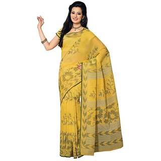 Fabdeal Daily Wear Yellow Floral Print Cotton Saree/Sari