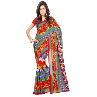 Fabdeal Daily Wear Multicolor Floral Print Georgette Saree/Sari