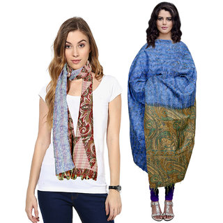 IndiWeaves Women Soft Luxurious Cotton Stole with Silk Kantha Shawl for All Seasons (Combo Pack of 2)