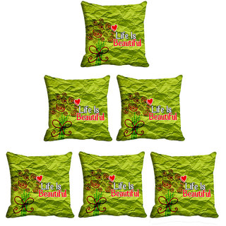 IndiWeaves Micro Polyester Digital Printed Cushion Cover Combo (Pack of 6 Cushion Cover)(Size- 16X16 Inches)
