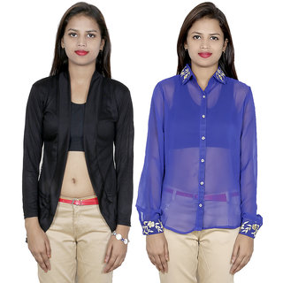 IndiWeaves Women's Viscose Shrug with Georgette Shirt (Pack of 1 Shrug with 1 Shirt)