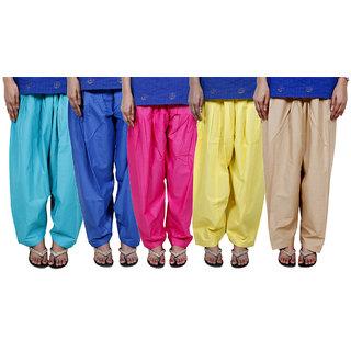 IndiWeaves Women's Cotton Patiala Salwar Combo 5 (Pack of 5 Salwar)