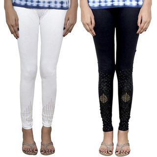 IndiWeaves Women's Fancy Leggings Combo (Pack of 2 Leggings)