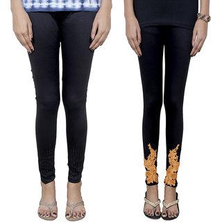 IndiWeaves Women's Fancy Leggings Combo (Pack of 2 Leggings)