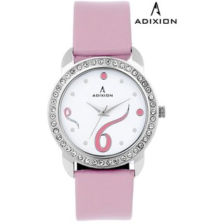 Adixion White Dial Analog Synthetic Leather Watch For Women's